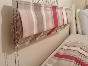 Roman Blind In Laura Ashley Awning Stripe Raspberry Lichen