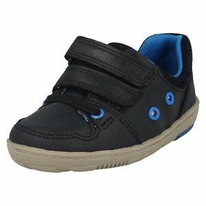 Garçons Clarks Infant Leather Casual Riptape Baskets Première Chaussures Flash Pop