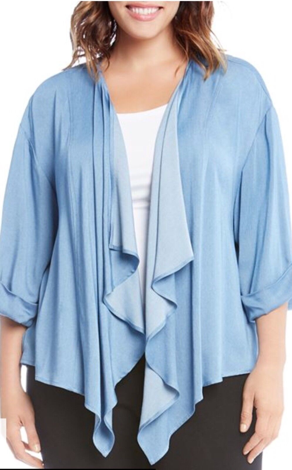 NEW  Karen Kane Plus Blau Rolled Sleeves Open Front Drape Jacket Blouse Top 1X