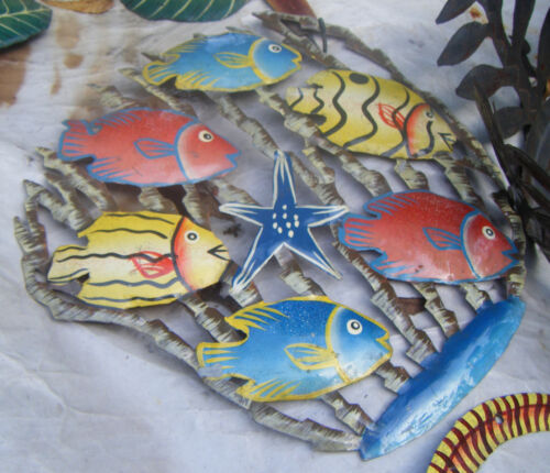 """Colorful Tropical Fishes Wall Decor Wall Art Ideas Haitian Oil Drum Art Size 24/"""""""