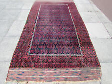 Antique Traditional Hand Made Afghan Baluch Wool Brown Rug Carpet 293x155cm