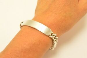 Taxco-Mexican-925-Sterling-Silver-Curb-Chain-ID-Bracelet-7-5-034-19-cm-45-grams