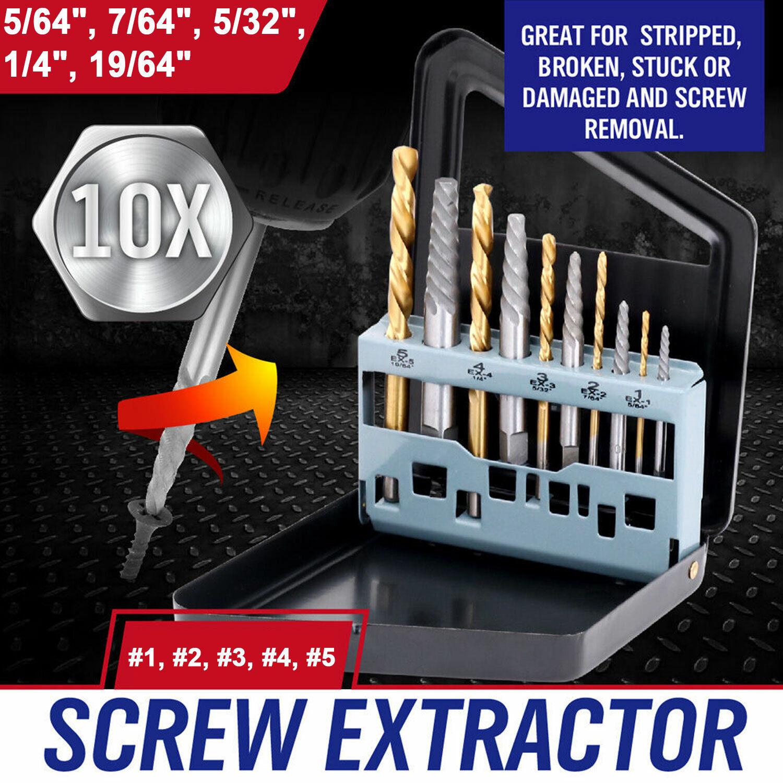 Screw Extractor and Left Hand Drill Bit Set Cobalt Hss Made