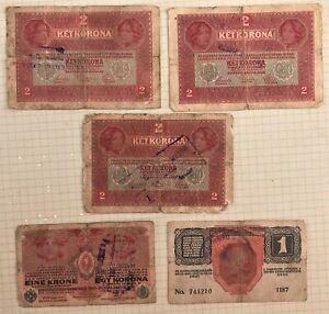 FIVE-WWI-ERA-AUSTRIA-HUNGARY-MULTI-2-8-LANGUAGE-1-amp-2-KRONEN-NOTES-OVERPRINTED
