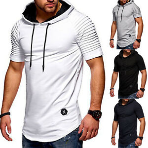 Mens-Hoodie-Tee-Shirt-Short-Sleeve-Summer-Casual-T-Shirt-Gym-Fitness-Sweatshirt