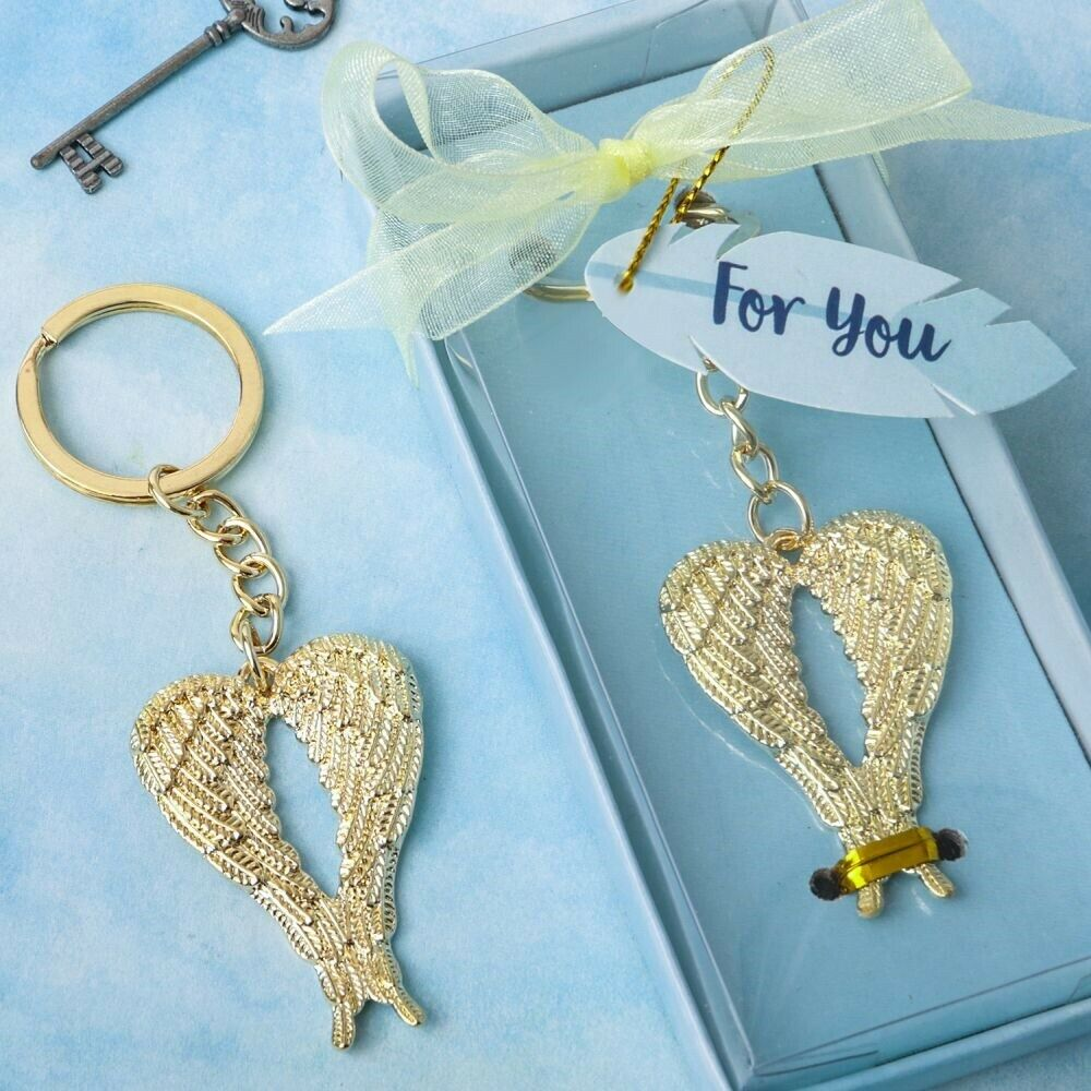 100 Gold Guardian Angel Wing Metal Key Chain Wedding Religious Party Favors
