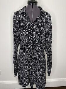 Tigerlily Black & White Polka Dot Shirt Dress Size 8 EUC Beach Casual