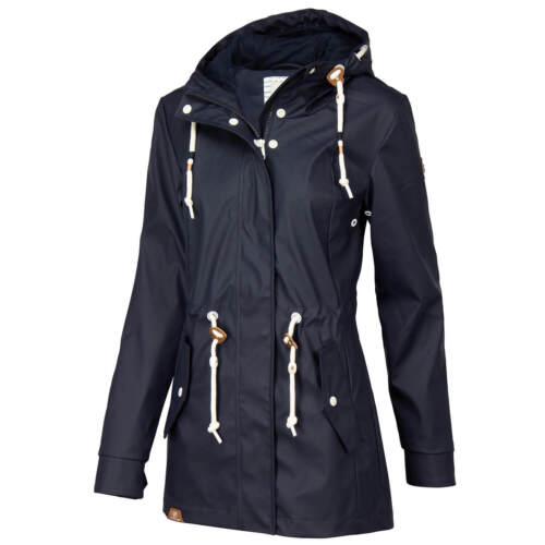 Ragwear Damen Regenjacke Mantel vegan Regen Winddicht Reißverschluss Kapuze