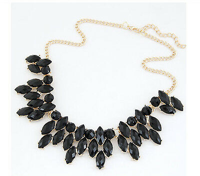 Hot New Charm Gold Tone Chain Black Resin Elegant Statement Choker Necklace