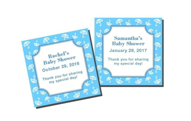 20 Personalized Baby Shower Boy Umbrella Favor Labels Stickers