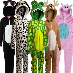 Girls-Boys-PYJAMAS-Animal-All-In-One-Kids-Costume-Jumpsuit-Nightwear-1Onesie