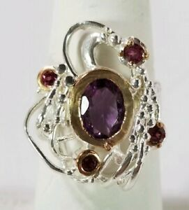 Ladies-Handmade-Natural-Amethyst-925-Sterling-Silver-Ring-Size-8