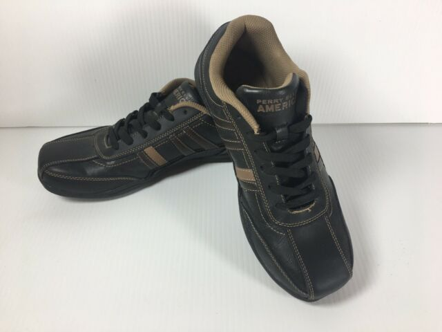 Perry Ellis America Mens Leather Shoes Size 10 Meeks Black Brown Stripes