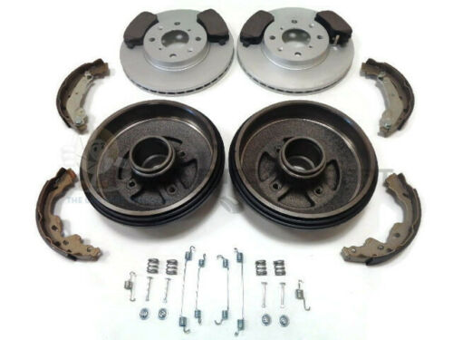 FRONT BRAKE DISCS PADS REAR 2 DRUMS /& SHOES /& FITTING KIT FOR SUZUKI SWIFT 05-11