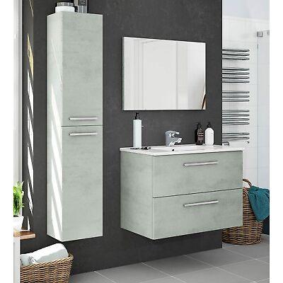 Pack completo mueble baño color cemento espejo columna y lavamanos de cerámica