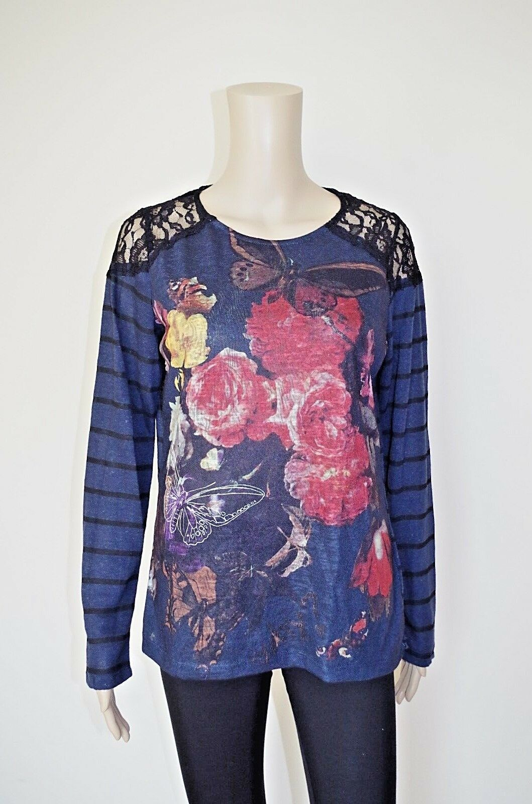 €54 DESIGUAL L WOMENs LINEN KNITTED SWEATER FLORAL JUMPER THIN GUIPURE STRETCH