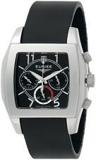 New Mens Elysee 28411 Chronograph Date Black Rubber Strap Watch