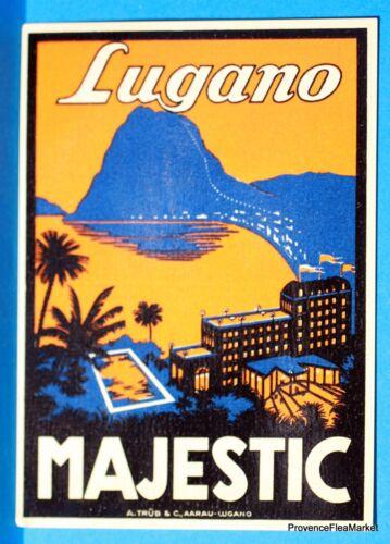 Hotel MAJESTIC  LUGANO  Original  luggage label  BD88