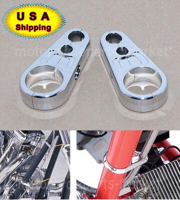 "1/"" 25mm Chrome Frame Handlebar Clutch Cable Brake Line Clamp For Harley Davidson"