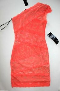 b3a6a0517743 NWT Bebe coral pink lace dress one shoulder overlay mixed vegas top ...
