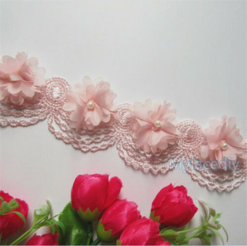 1yd Vintage Flower Pearl Lace Edge Trim Wedding Ribbon Applique DIY Sewing Craft