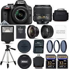 Nikon D3300 Digital SLR Camera AF-P 18-55mm VR Lens Kit + 64GB Kit & 3 Lens Kit