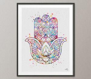 Image Is Loading Hamsa Hand Watercolor Print Evil Eye Wall Art