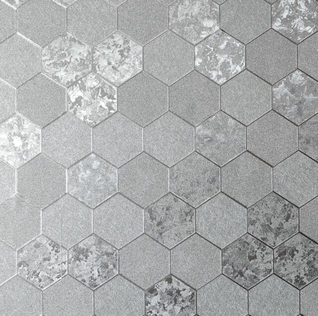 . Arthouse Foil Honeycomb Silver Metallic Textured Contemporary Wallpaper  294700