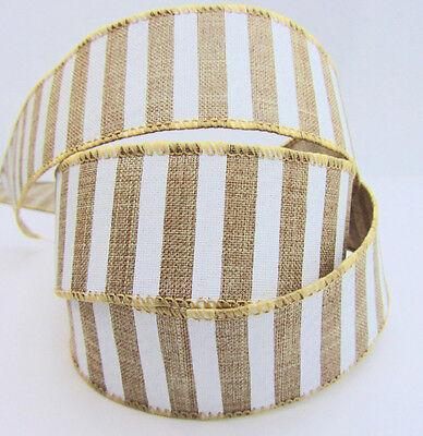 "10 yards Burlap White Stripe Ribbon 1.5"" Craft/Trim/bow/Wedding Decor/Brown R127"