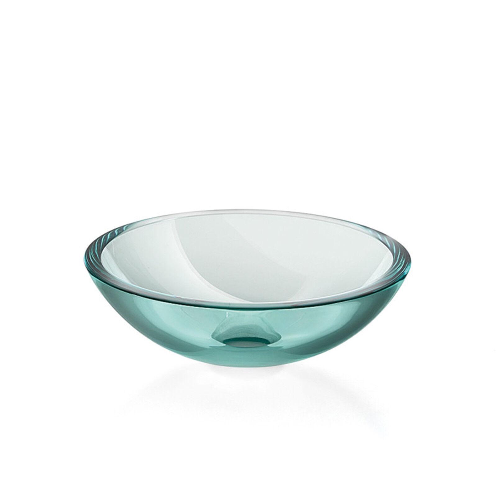 Lavabo a bacinella da appoggio in vetro tondo 30 cm Lineabeta serie Acquaio
