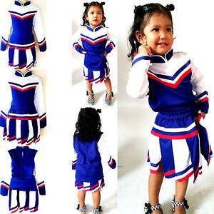 Kinder Madchen Cheerleader Kostum Fasching Cosplay Kleid Mehrfarbig