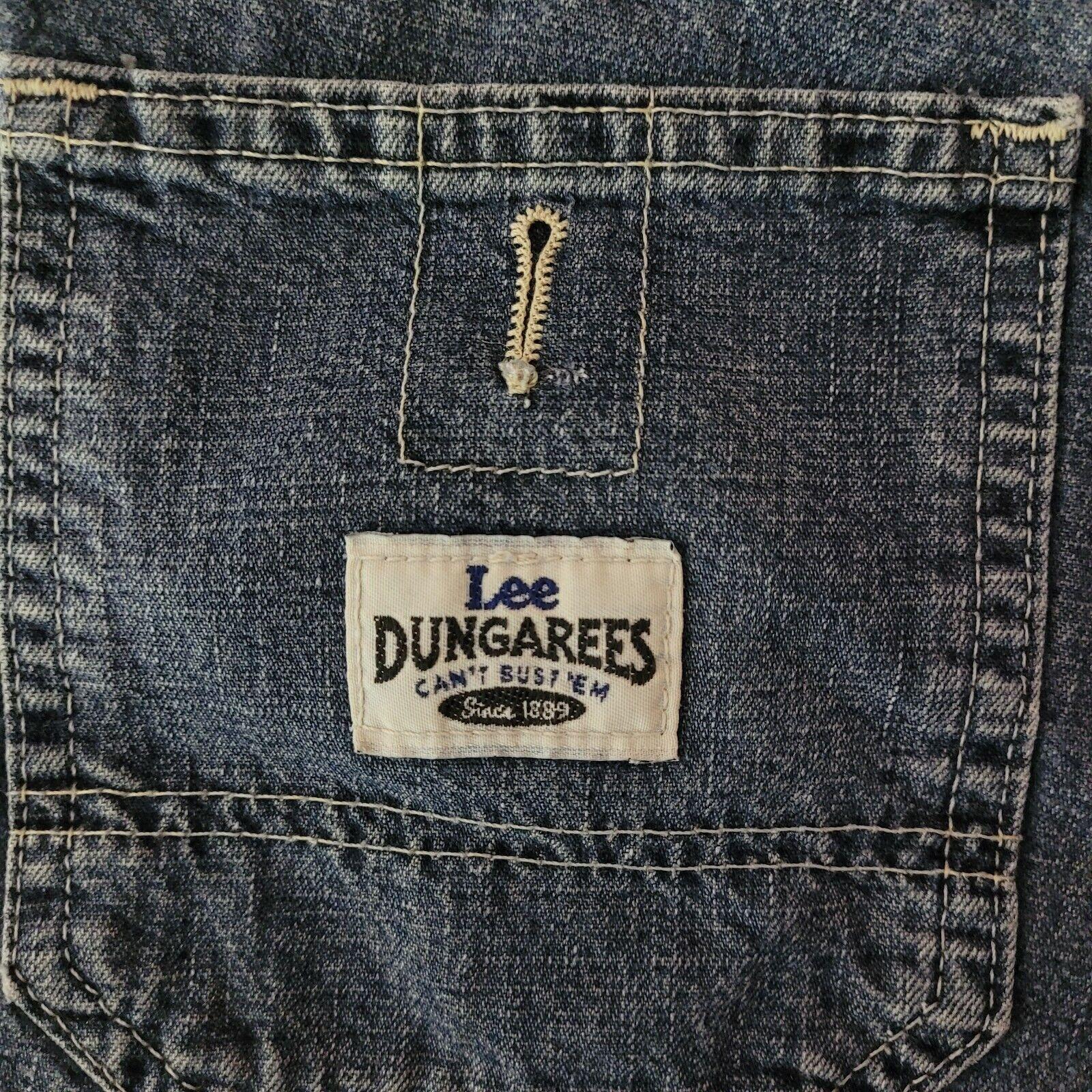 Retro Lee Distressed Dungarees Denim Shorts Y2K S… - image 3