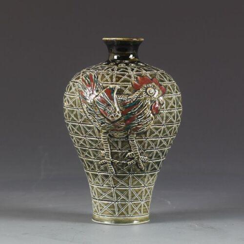 China antique Porcelain Fambe glaze color Hand carving Chicken Pulm vase
