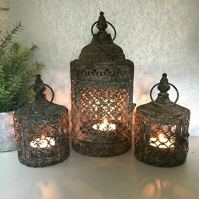 Round Distressed Candle Holder Antique Style Glass Tea Light Holder