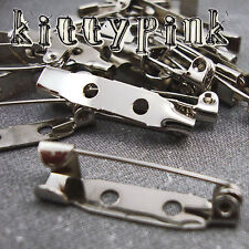 20 Silver Brooch Backs Bar Pins Catch 25mm 1""