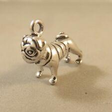 Wow 2533 Bulldog 3d Pug Charm Sterling Silver Dog Pendant Ebay