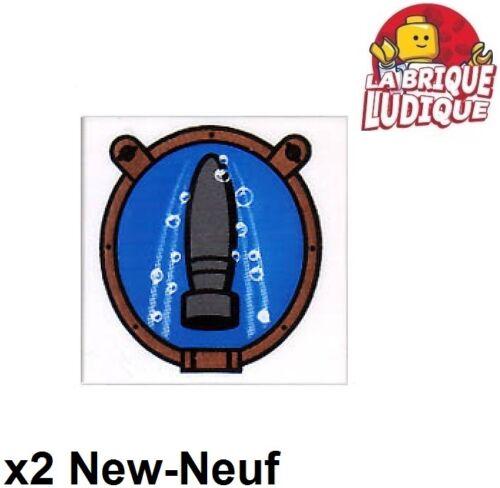 Lego 2x Tile decorated 2x2 Torpedo torpille Porthole hublot 3068bpb0358 NEUF