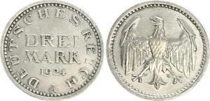 Lack Coinage 3 Mark J.312 1924 A Rändelungsfehler Undrecht Almost Excellent