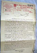 TITANIC Letter Trade Union Workers Ship Yard Emphemera Vintage Old Antique UK