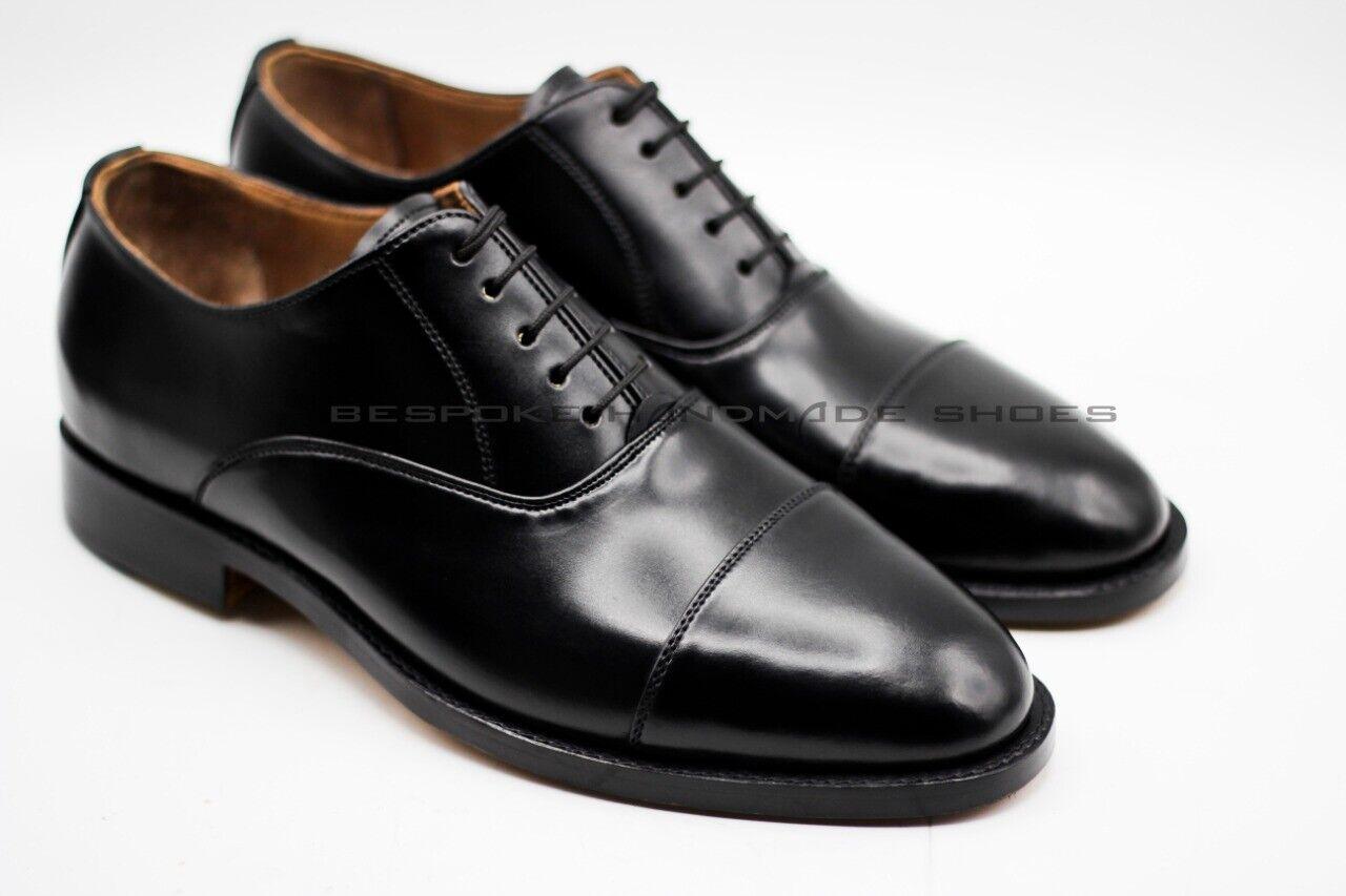 prezzi equi Uomo Handcrafted Genuine nero Leather Leather Leather Toe Cap Lace Up scarpe Formal Wear  a buon mercato