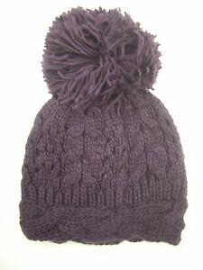 New Look Purple Cable Knit Beanie Hat with Extra Large Pom-Pom  321c0f9564c