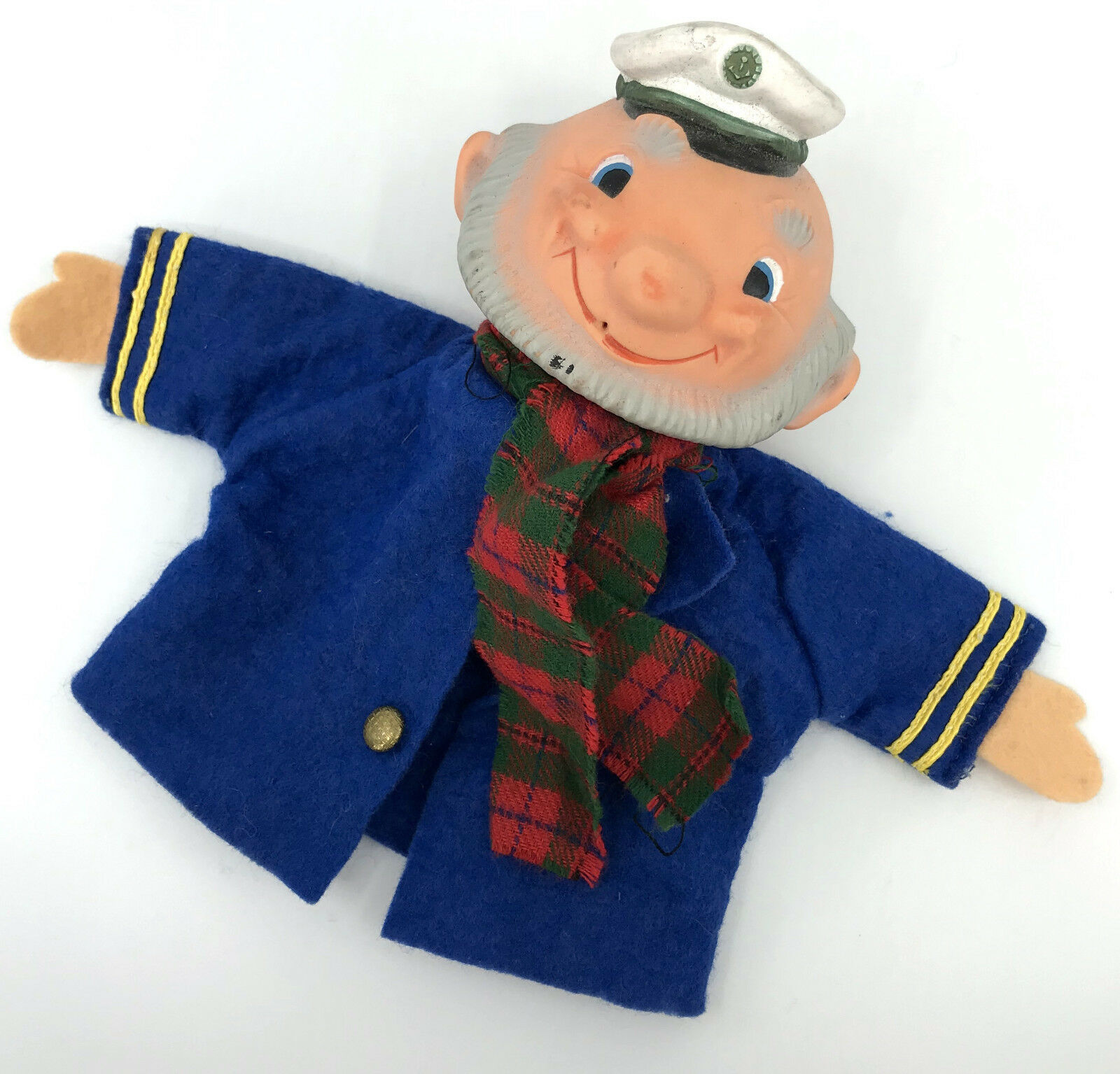 Goebel Sailor Hand Puppet Felt Uniform Vinyl Head c1960s V Bee Logo W Germany