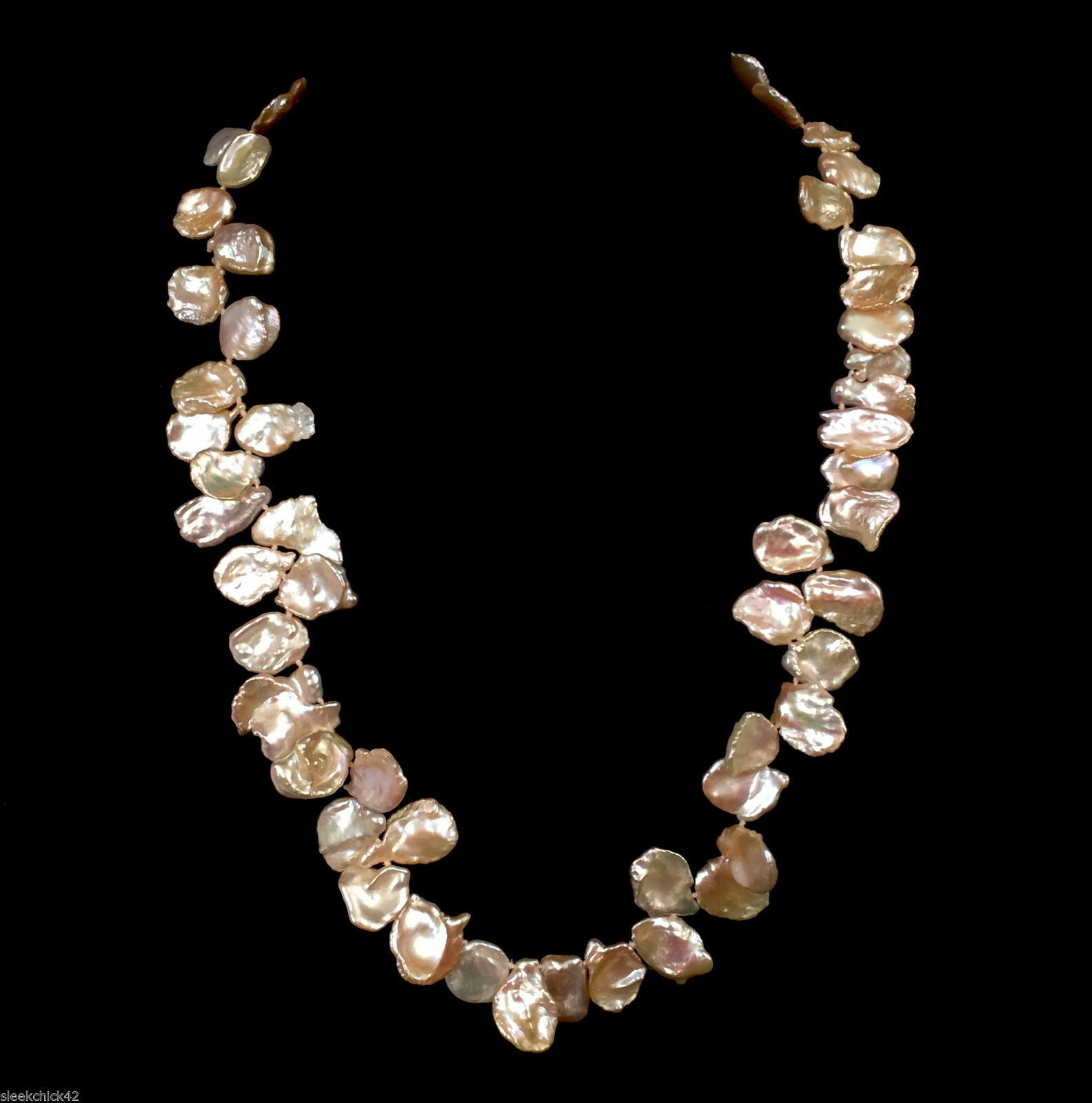 unique piece handmade, Handmade champagne-colored freshwater pearl necklace with designer intermediate