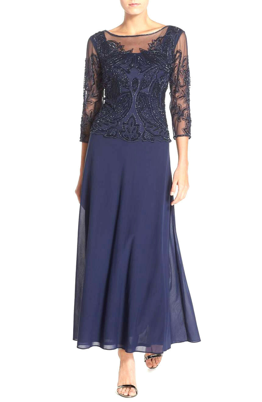 172 PISARRO NIGHTS NAVY EMBELLISHED GOWN DRESS      SZ 8 FIT 6   MSRP 208 1ed0e1