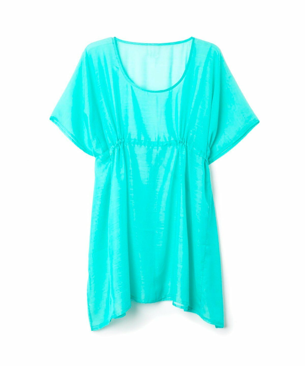 Echo Living Ladies Beach Simple Solid Turquoise Butterfly Cover-Up One size
