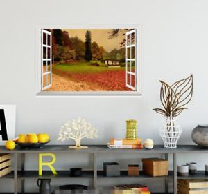 3D Leaf Road 505 Open Windows WallPaper Murals Wall Print Decal Deco AJ Summer