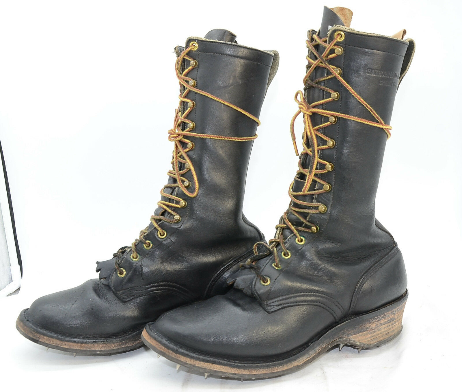 Hathorn Boot MFG Mens Sz 9 C Tree Climber Logger Leather Work BOOTS Spiked Soles