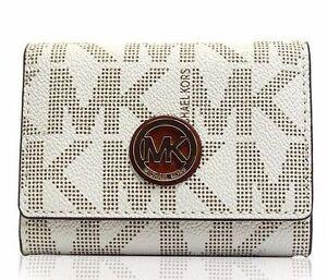 9f516a01c282 Michael Kors Fulton Snap Card Case Wallet Signature PVC Vanilla for ...