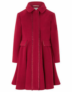 Girls-Monsoon-Red-Penelope-Frill-Pleat-Flare-Victoria-Princess-Coat-3-to-13-Year