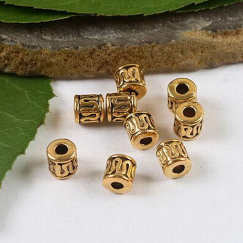 50pcs Dark Gold-Tone incurvée Wire Tube Spacer Beads h2070